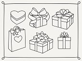 Doodle set of gift boxes