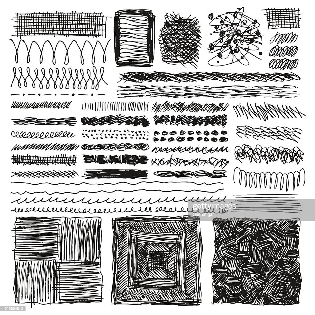 Doodle set of hand drawn strokes, Vector illustration.