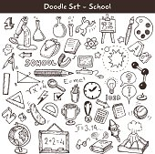 Doodle set - school. Vector illustration.