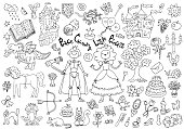 Doodle set with royal prince and princess concept and accessories