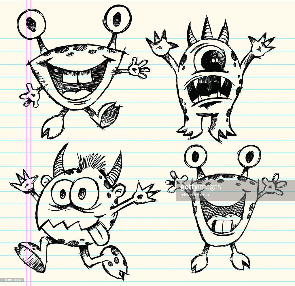 Doodle Sketch Monster Set : stock illustration