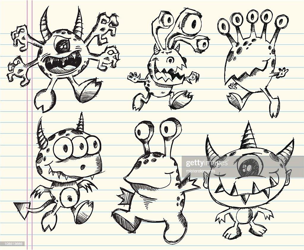 Doodle Sketch Monster Set