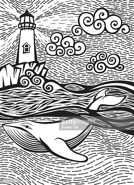 Doodle Sketch of a Whale in the Sea Near Lighthouse