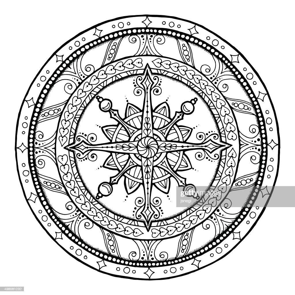 Doodle snowflake on ethnic christmas mandala.