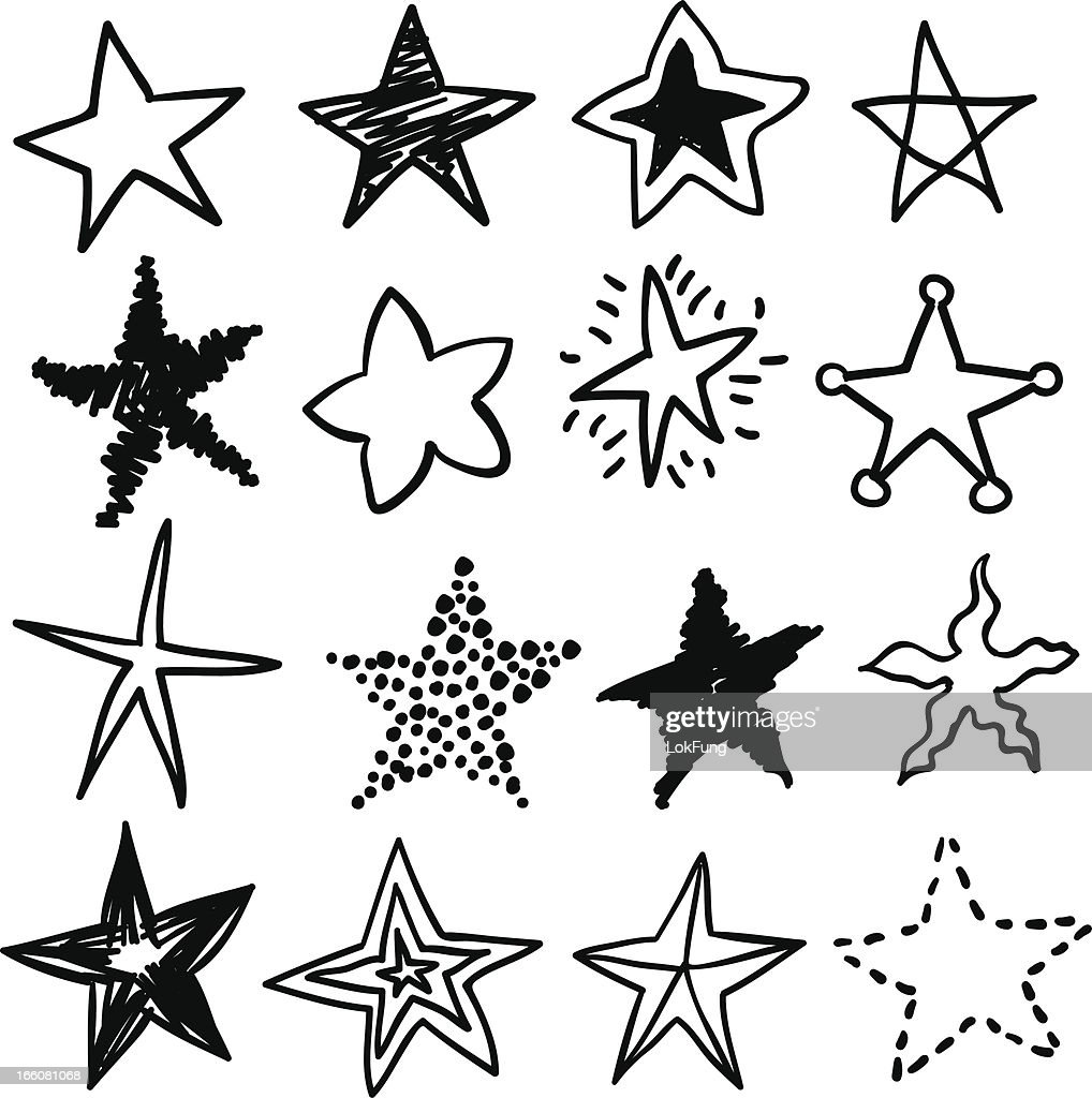 Doodle stars in black and white : stock illustration