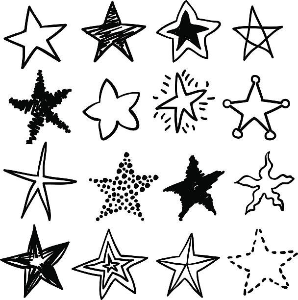 doodle stars in black and white - pencil drawing stock illustrations