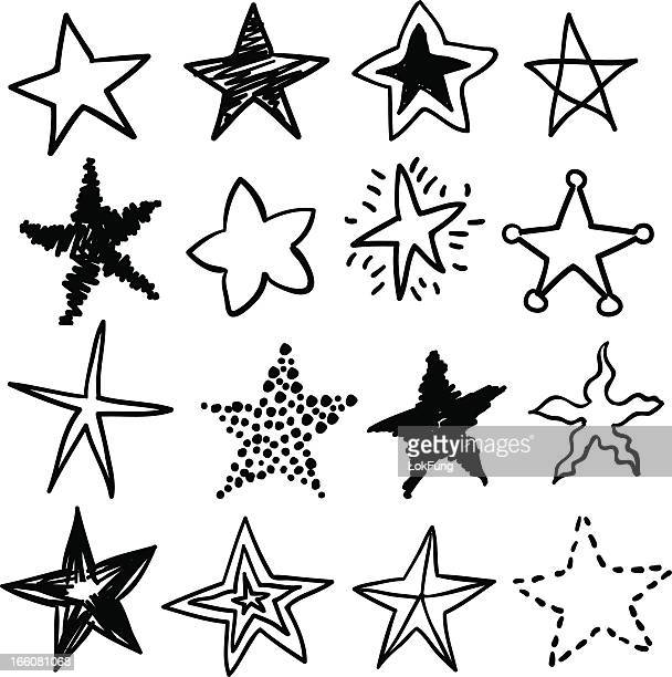 doodle stars in black and white - pencil drawing stock illustrations, clip art, cartoons, & icons