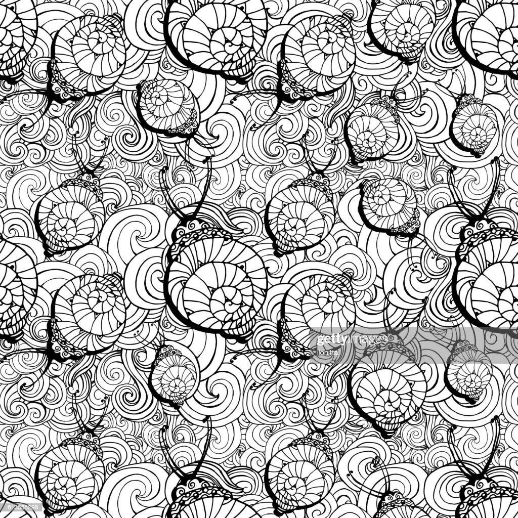 Doodle style fun lacy snail, seamless animal and patterm For