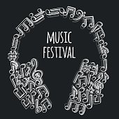 Doodle style musical notes background