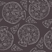 Doodle style pizza  seamless vector background