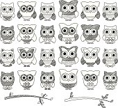 Doodle Style Vector Set of Cute Owls and Branches