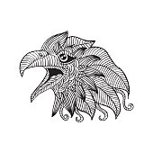 Doodle stylized head of eagle.