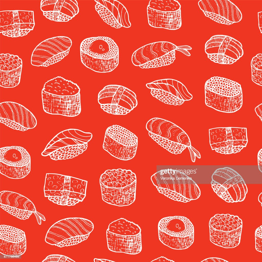 Doodle sushi - food seamless pattern. Vector illustration