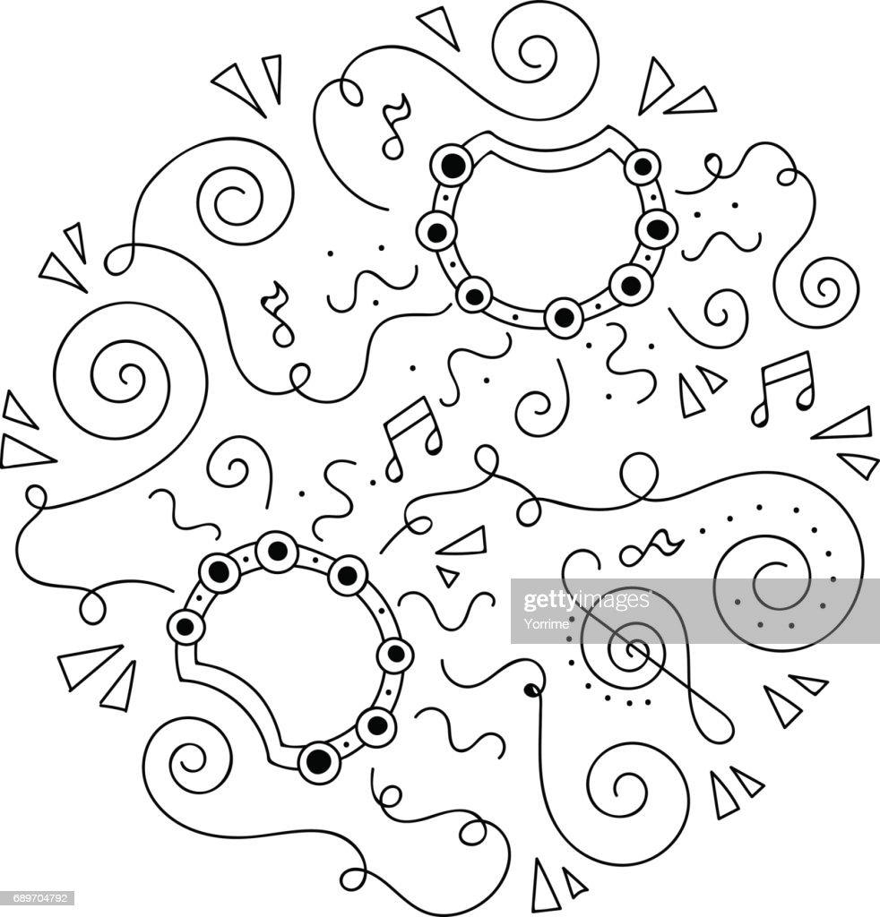 Doodle Tamboerijn Jazz Festival Kleurplaat Vectorkunst Getty Images