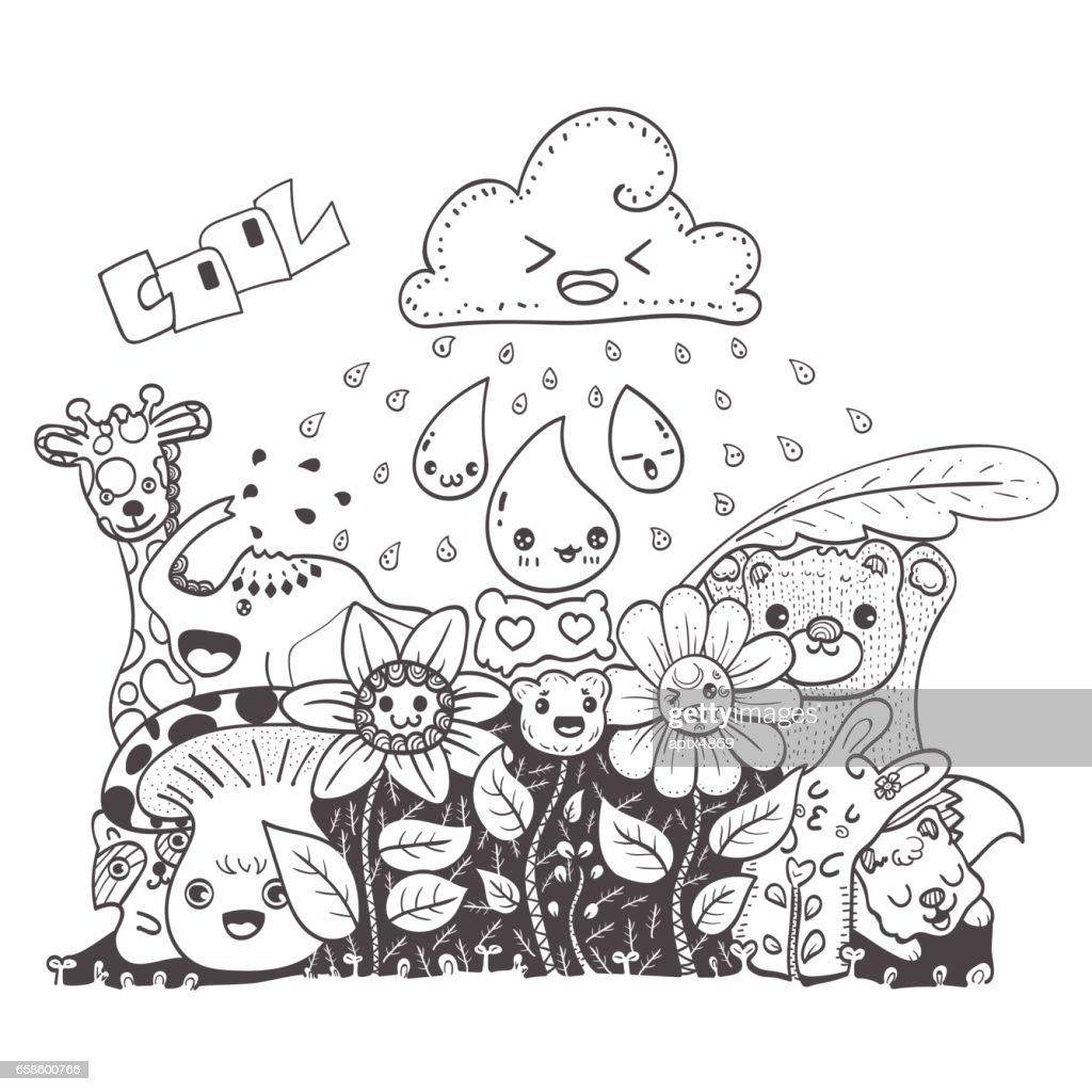 Doodle Blumen Mit Freunden Handgezeichnete Vektorillustration Für ...