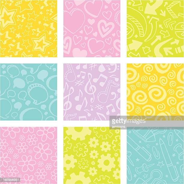 doodle tiles - bass clef stock illustrations, clip art, cartoons, & icons