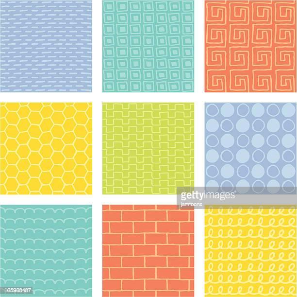 stockillustraties, clipart, cartoons en iconen met doodle tiles - gekarteld