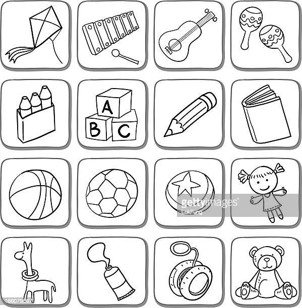 doodle toy icon set in black and white - kite toy stock illustrations, clip art, cartoons, & icons