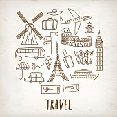 Doodle travel drawings on old paper background