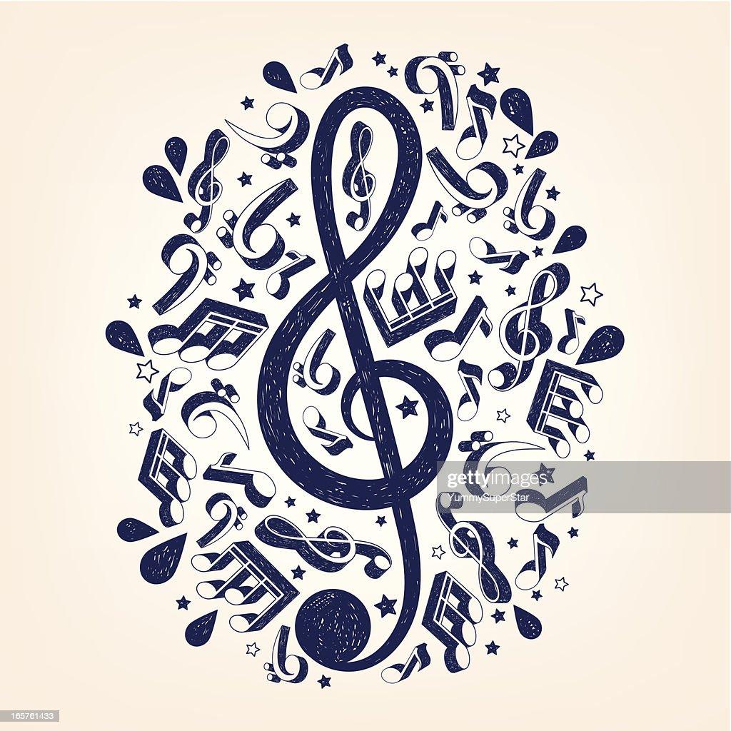 Doodle treble clef illustrarion : stock illustration