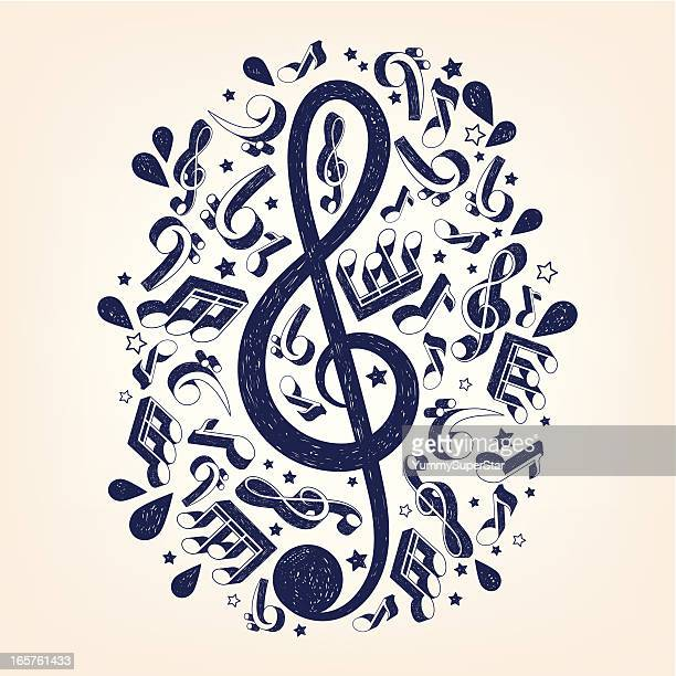 doodle treble clef illustrarion - treble clef stock illustrations, clip art, cartoons, & icons
