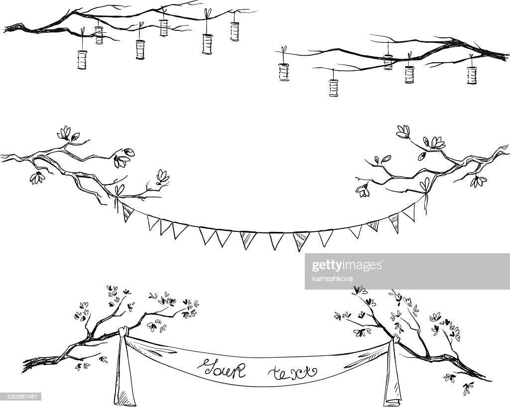 Doodle tree branches. Decorations. Vector illustration.