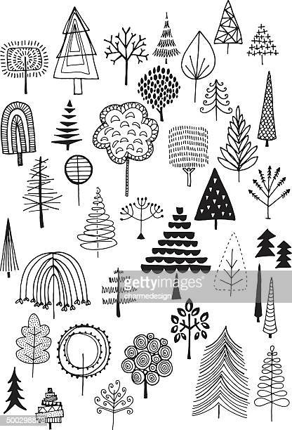 doodle trees - tree stock illustrations, clip art, cartoons, & icons