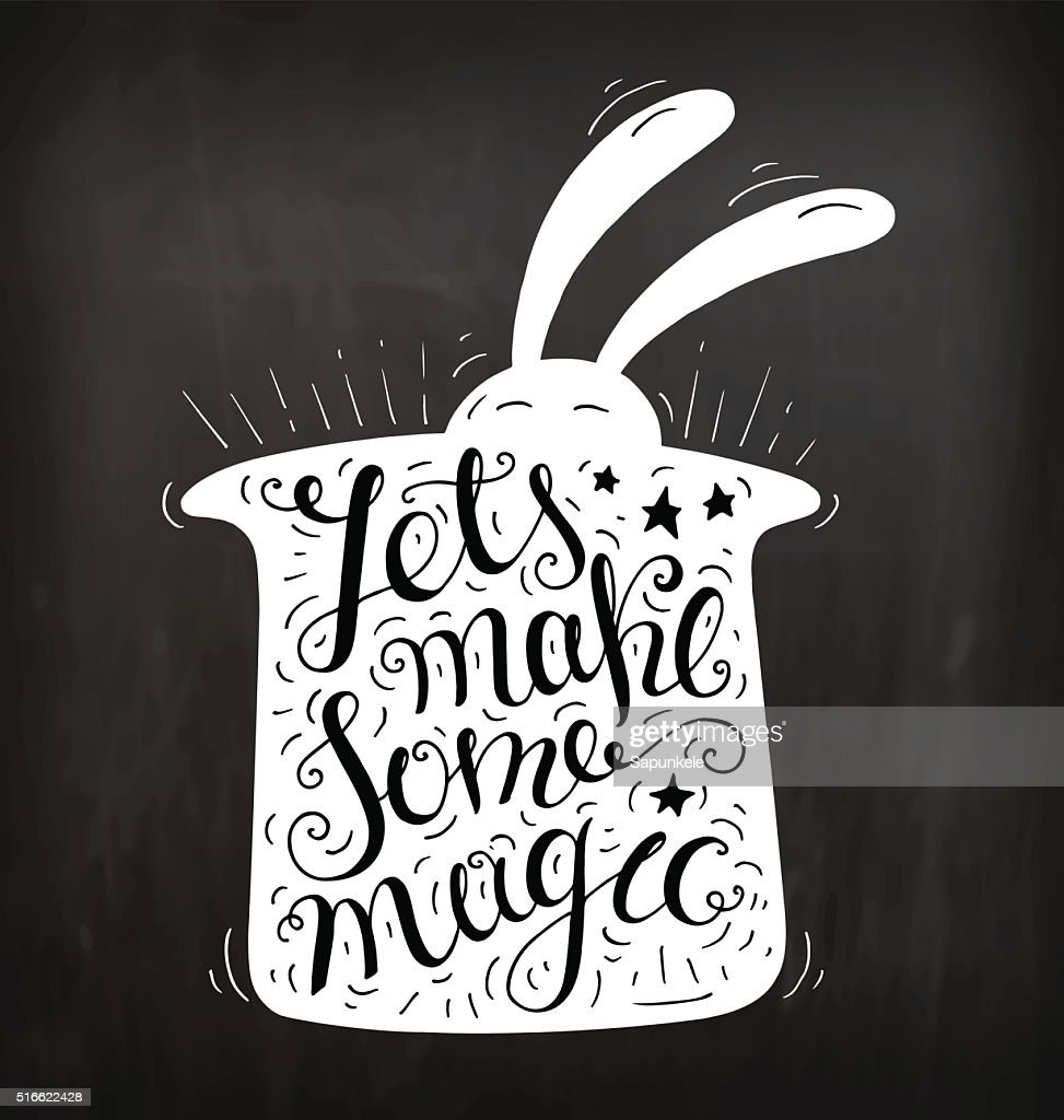 doodle typography poster with hat and rabbit