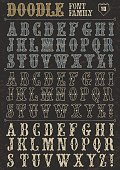 Doodle vector font family 10 on dark. Alphabet.