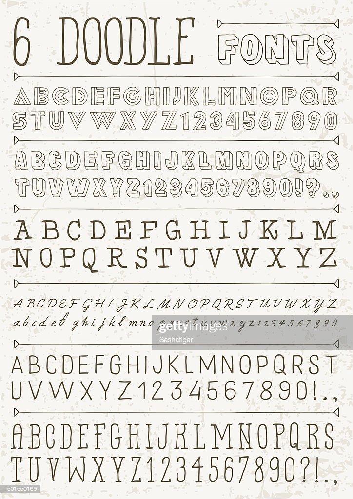 6 doodle vector fonts. Alphabet.
