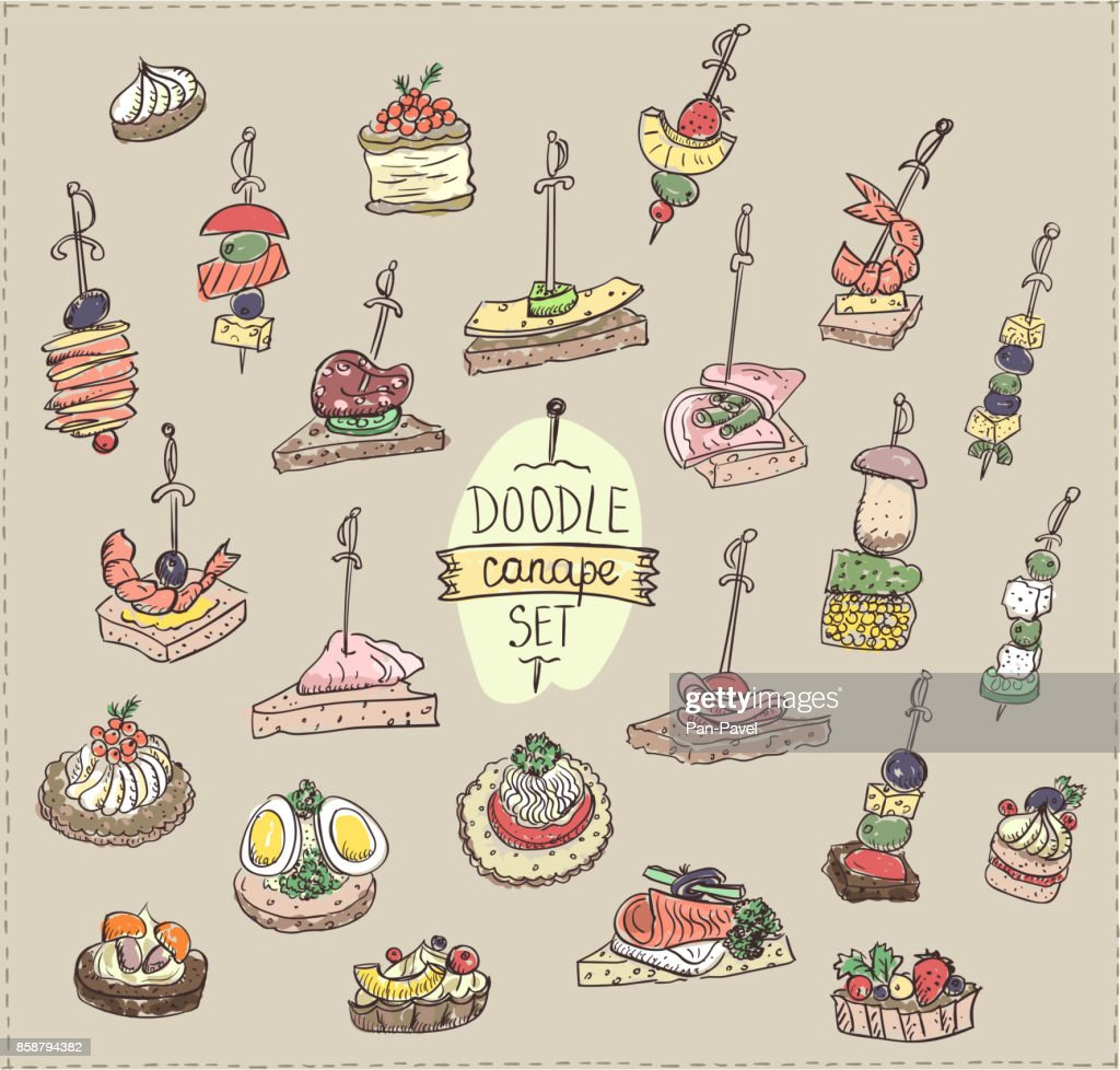Doodle vector illustration with canapes and sandwiches
