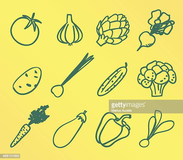 doodle vegetable icons - cucumber stock illustrations, clip art, cartoons, & icons