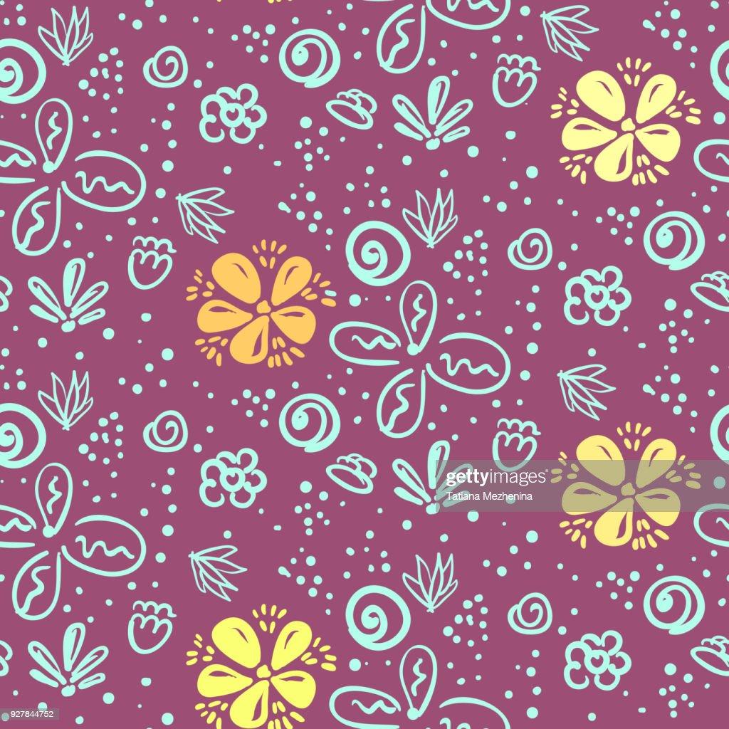 Doodle violet floral pattern with blue flowers