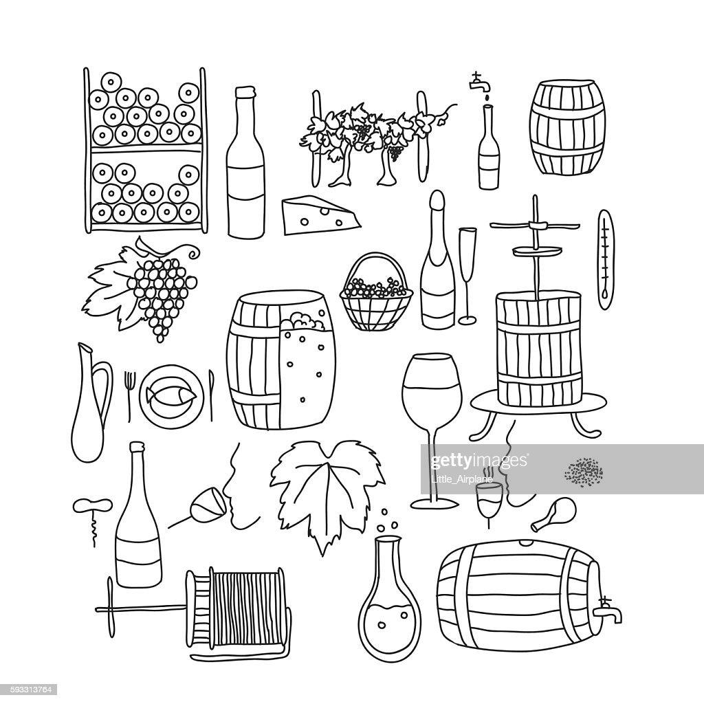 doodle wine line