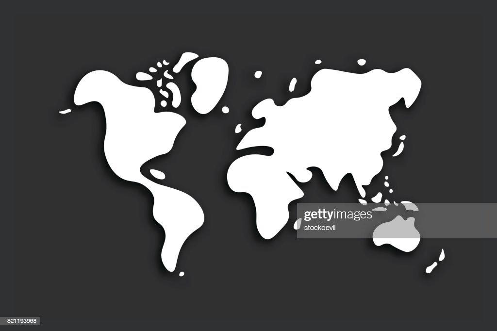 Doodle world map on black background . Vector