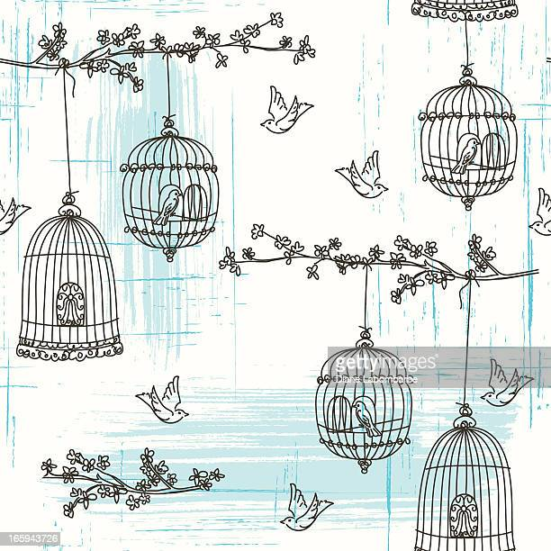doodled birds and cherry blossoms seamless pattern - birdcage stock illustrations, clip art, cartoons, & icons