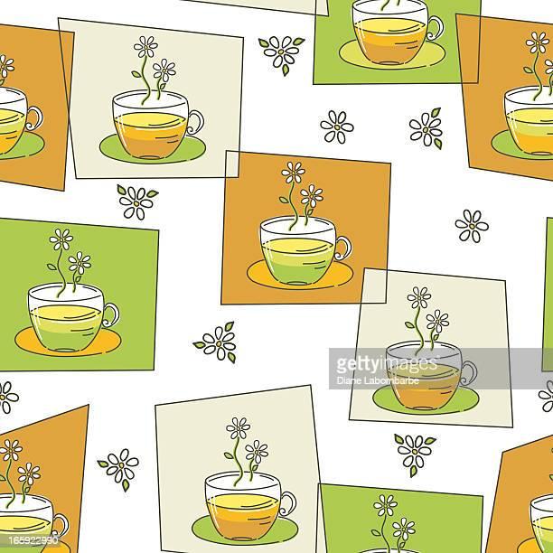 doodled カモミールティーカップ - ハーブティー点のイラスト素材/クリップアート素材/マンガ素材/アイコン素材