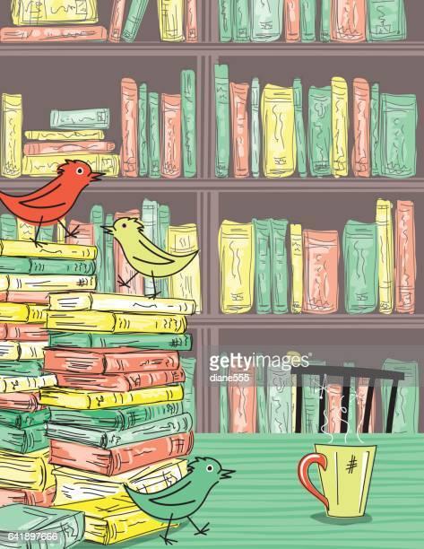 Doodled Kaffee und Bücher. Bibliothek