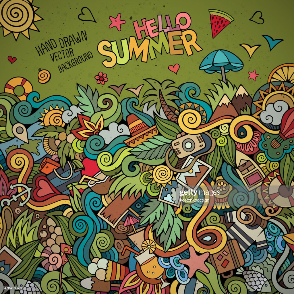 Doodles abstract decorative summer vector frame