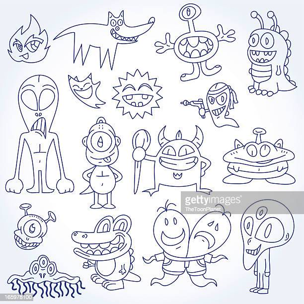 doodles aliens & monsters vector illustration drawing set - ballpoint pen stock illustrations, clip art, cartoons, & icons