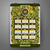 Doodles cartoon curls ornamental floral Calendar 2016 year