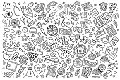 Doodles cartoon set of Casino objects
