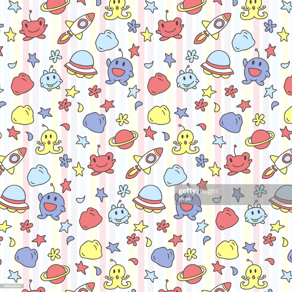 Doodles cartoon space aliens background for kids, Cute cartoon space aliens pattern for printing and decoration.