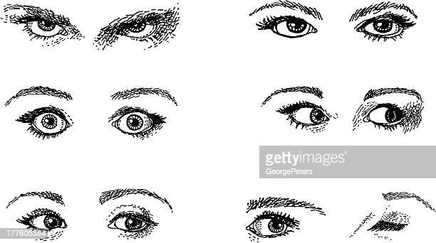 doodles. expressive eyes - eyes closed stock illustrations, clip art, cartoons, & icons