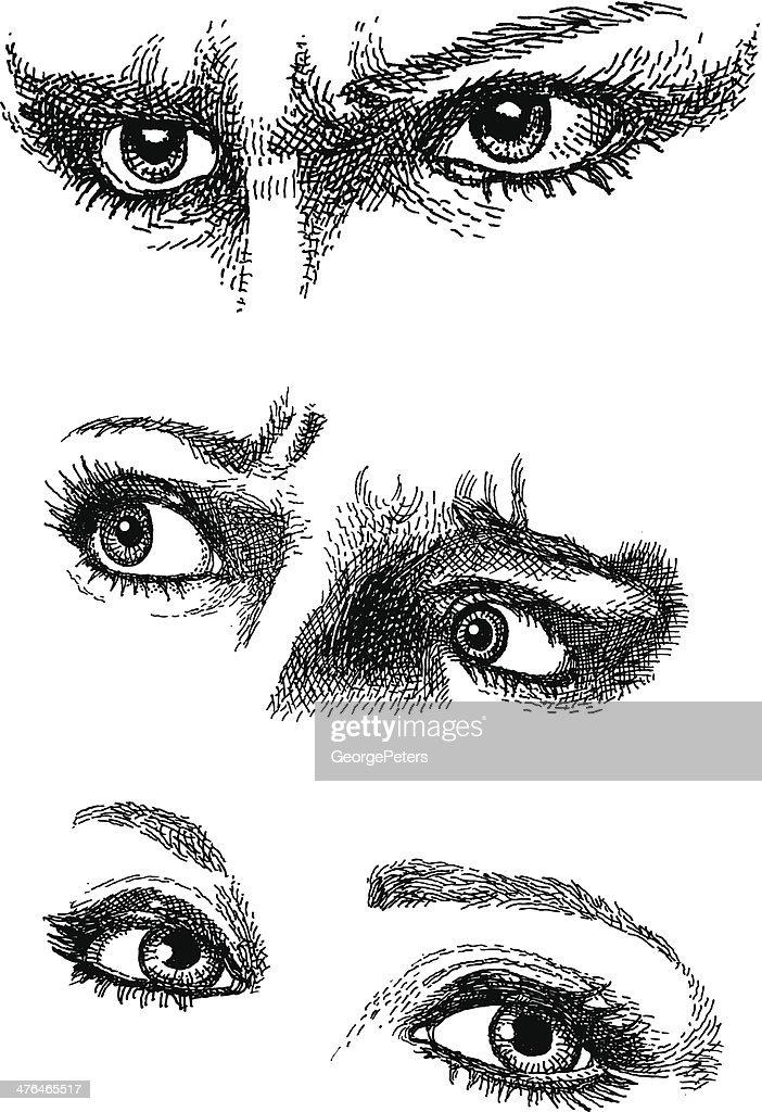 Doodles. Expressive Eyes : stock illustration