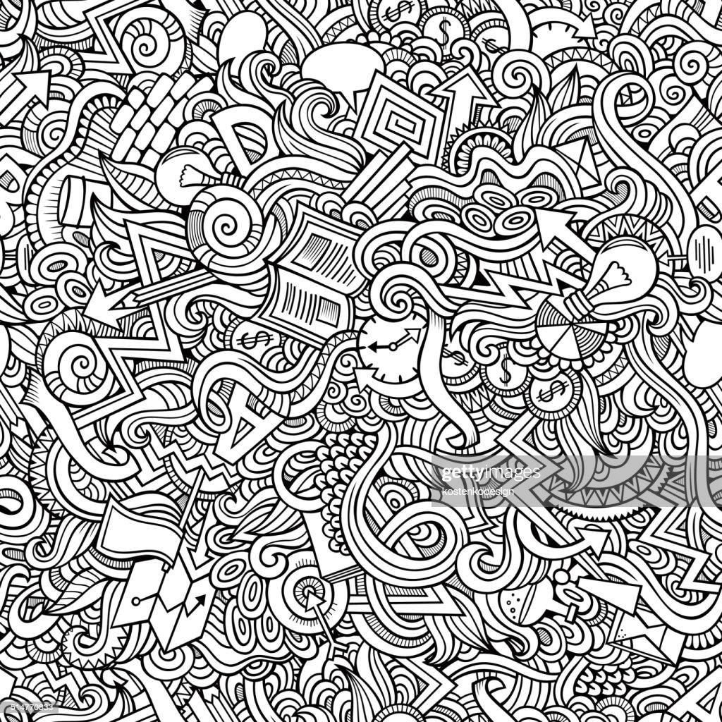 doodles hand drawn idea seamless pattern
