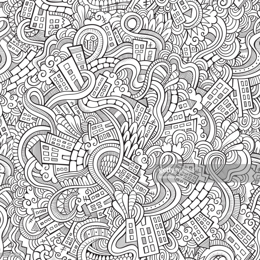 doodles hand drawn town. seamless pattern
