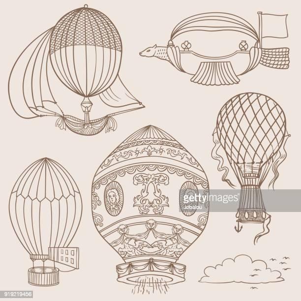 illustrations, cliparts, dessins animés et icônes de gribouillages d'anciens ballons chauds - saut en parachute