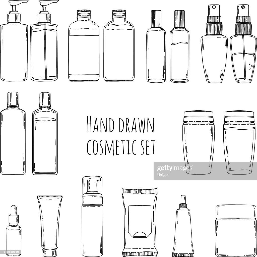Doodles of cosmetic bottles and cosmetic package.