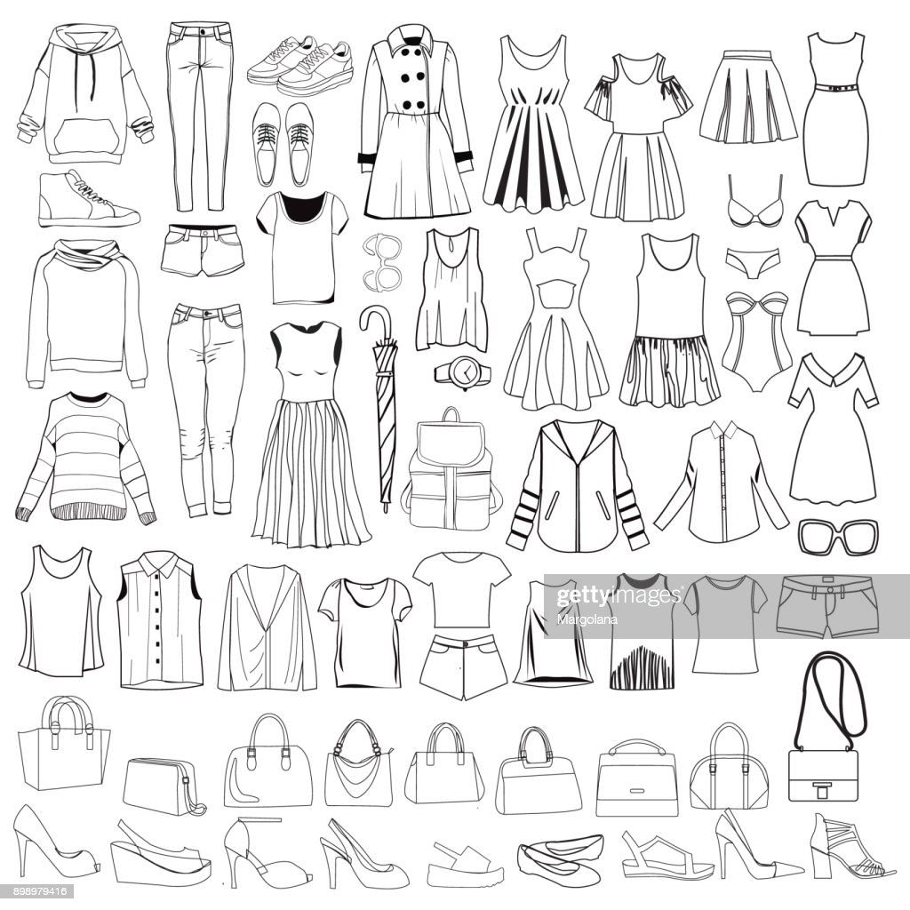 doodles of fashionable Women clothes and accessories, hand drawn doodle collection.